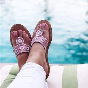 Jack Rogers Pink Palm Sandal